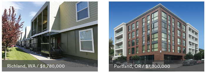 Side by side photos of appartment buildings. Left image has a lower thirds box with text that reads Richland, WA / $8,780,000. Right image has a lower thirds box with text that reads Portland, OR / $7,300,000